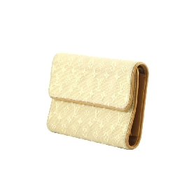 Long Wallet in Beige Canvas Mini Lin