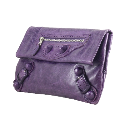 Clutch in Purple Covered Button