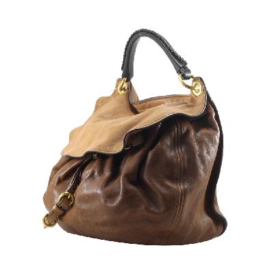 Tri Color Leather Aviator Hobo Bag