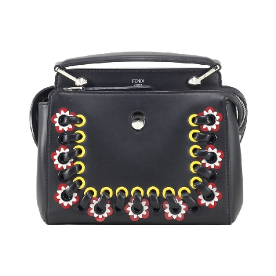 Dotcom Braid Whipstitch and Floral Embellished in Black