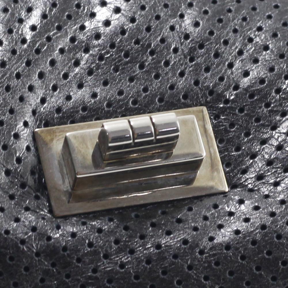 Flapbag in Black Perforated